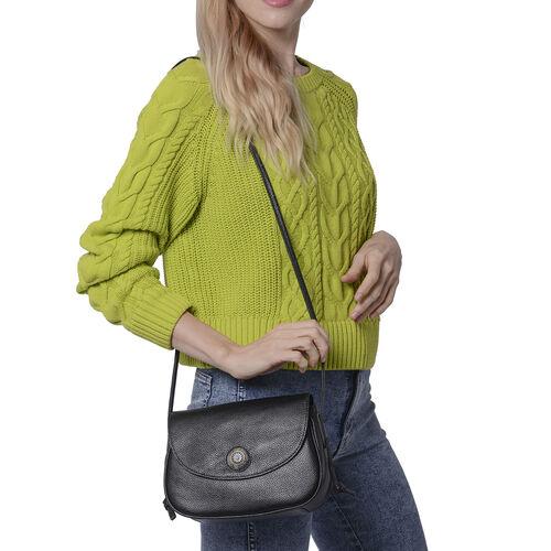 100% Genuine Leather Middle Size Litchi Pattern Crossbody Bag (Size 23x8x18cm) - Black