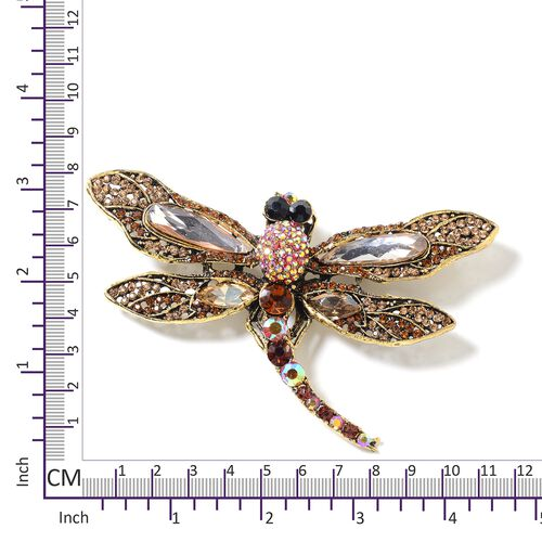 Multi Colour Austrian Crystal (Rnd), Simulated Champagne Diamond Dragonfly Brooch in Gold Tone
