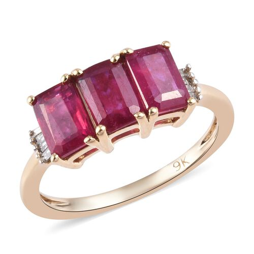 2.60 Ct AAA African Ruby and Diamond Trilogy Ring in 9K Gold