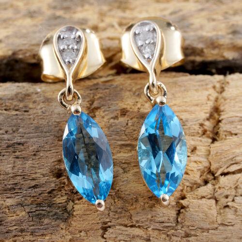 9K Yellow Gold AA Blue Topaz (Mrq), Diamond Earrings (with Push Back) 1.800 Ct.