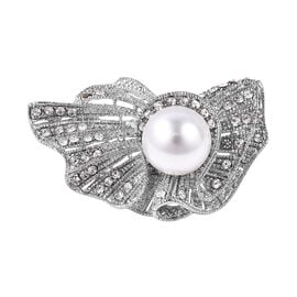 Simulated Pearl and White Austrian Crystal Brooch