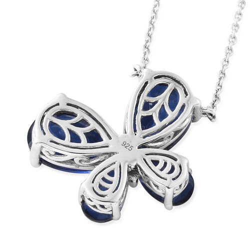 Ceylon Colour Quartz (Pear) Butterfly Necklace (Size 18) in Platinum Overlay Sterling Silver 12.750 Ct, Silver wt 6.43 Gms.