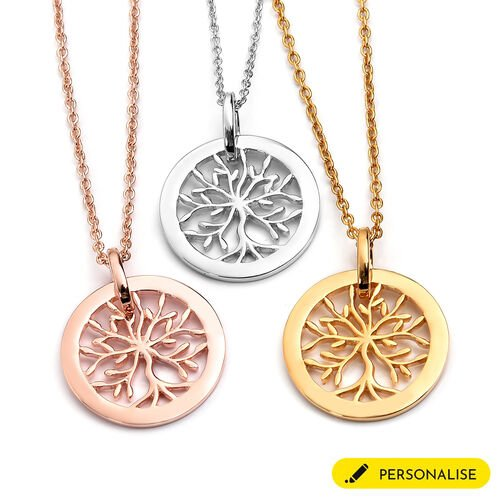 Personalise Engraved Family Tree Necklace in silver