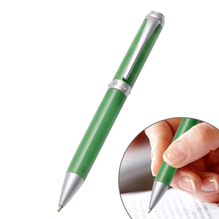 Green Jade and White Austrian Crystal Ball Pen (Size:13.4x1.5Cm)