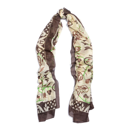 100% Mulberry Silk Chocolate, Green and Multi Colour Floral and Leaves Pattern Scarf (Size 180x100 Cm)