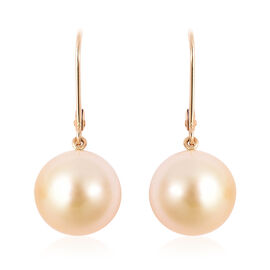 ILIANA 18K Yellow Gold AAA South Sea Golden Pearl (Rnd 11.5-12mm) Lever Back Earrings