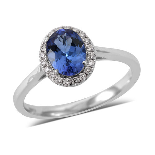 ILIANA 1.17 Ct AAA Tanzanite and Diamond Halo Ring in 18K White Gold 2.70 Grams SI GH