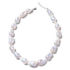 Baroque White Pearl Necklace (Size 18) in Rhodium Overlay Sterling Silver, Silver wt 5.00 Gms