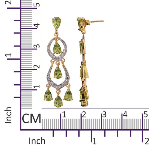 Hebei Peridot (Pear) Dangle Earrings (with Push Back) in Yellow Gold and Platinum Overlay Sterling Silver 5.180 Ct, Silver wt 5.40 Gms.