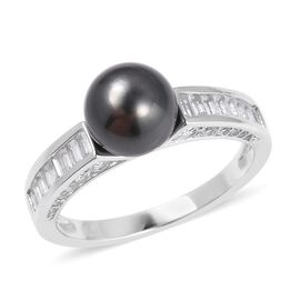 Tahitian Pearl and White Topaz Classic Solitaire Design Ring in Rhodium Plated Sterling Silver