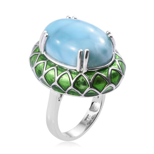 Larimar (Ovl 18x13 mm) Ring in Platinum Overlay Sterling Silver 12.750 Ct, Silver wt 7.88 Gms