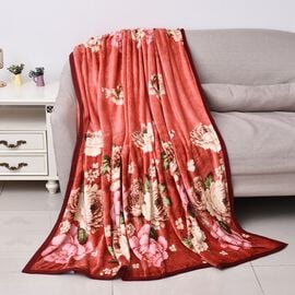 Microfibre Flannel Printed Blanket with Piping (Size 150x200 Cm)