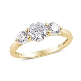 J Francis - 9K Yellow Gold (Rnd 6 mm) Three Stone Ring Made With SWAROVSKI ZIRCONIA