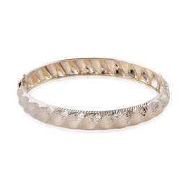 Limited Available- Royal Bali Collection 9K Yellow Diamond Cut Gold Bangle (Size 7.5), Gold wt 6.27
