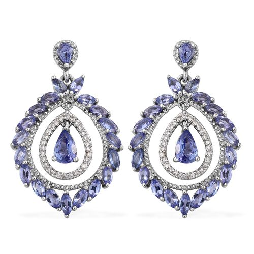 Tanzanite and Natural Cambodian Zircon Earrings in Platinum Overlay Sterling Silver 4.250 Ct. Silver