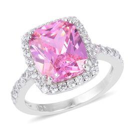 ELANZA Simulated Pink Diamond (Cush 11x9 ), Simulated Diamond Ring in Rhodium Overlay Sterling Silver