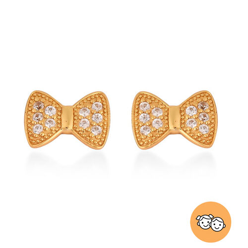 Bow Stud Earrings for Kids with Natural Cambodian Zircon in Gold Plated Silver