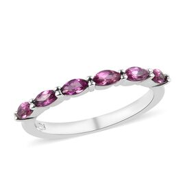 Rhodolite Garnet (Mrq) Six Stone Ring in Platinum Overlay Sterling Silver 0.60 Ct.