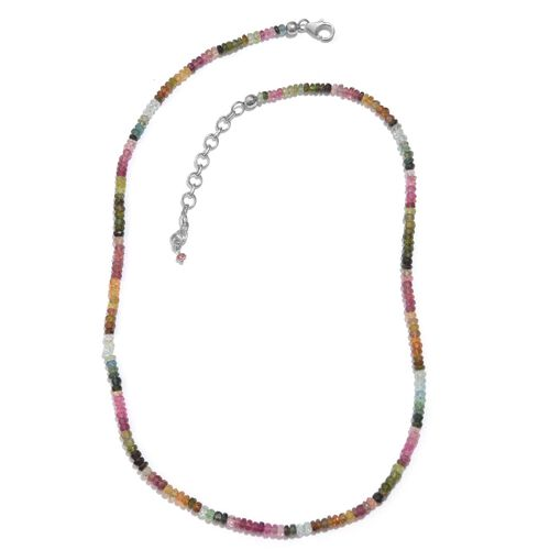 Tuscon Collection-Rainbow Tourmaline (Rnd) Beads Necklace (Size 18 with 2 inch Extender) in Sterling