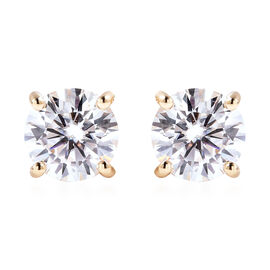 9K Yellow Gold Moissanite Stud Earrings (with Push Back) 1.45 Ct.