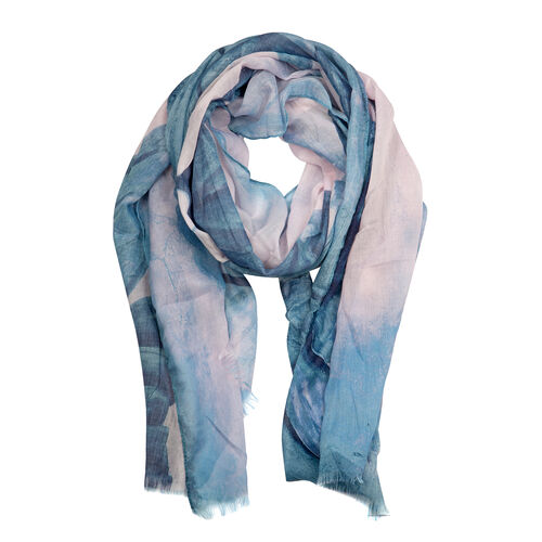 Designer Inspired-Blue and Pink Colour Lotus Leaf Pattern Scarf (Size 170x75 Cm)