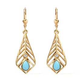 Arizona Sleeping Beauty Turquoise, Natural Cambodian Zircon Lever Back Earrings in 14K Gold Overlay