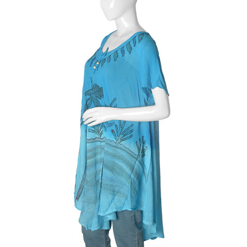 Light and Dark Blue Colour Umbrella Dress with Embroidery (Free Size)