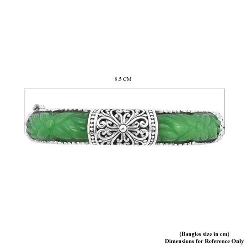 Royal Bali Collection - Carved Green Jade Bangle (Size 7.25) in Sterling Silver 95.23 Ct, Silver wt 31.23 Gms