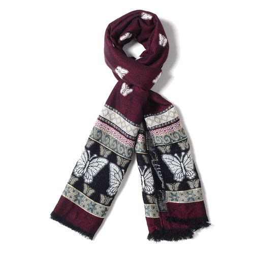 Wine Red, Black and Multi Colour Scarf with Butterfly and Strip Pattern (Size 170x68 Cm)