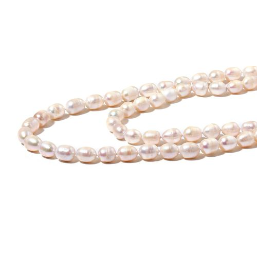 Fresh Water White Rice Pearl (10-11 mm) Necklace (Size 36)