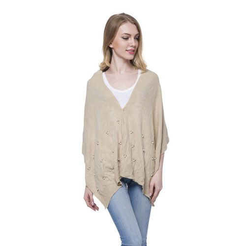Italian Designer Inspired - Pearl Detailed Beige Colour Buttoned Scarf/Cardigan (Size 160x43 Cm)