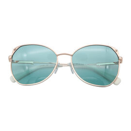 JUST CAVALLI Ladies Oversized Metal Sunglasses with Blue Lenses