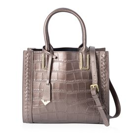 Close Out Deal 100% Genuine Leather Metallic Bronze Croco Embossed Tote Bag with Removable Shoulder Strap (Size 28x24.5x12 Cm)