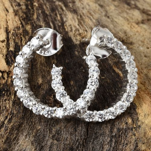 J Francis - Sterling Silver (Rnd) J Hoop Earrings Made with SWAROVSKI ZIRCONIA