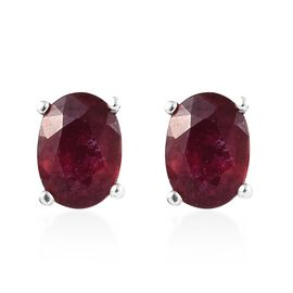 AAA African Ruby (Ovl) Stud Earrings (with Push Back) in Platinum Overlay Sterling Silver 2.250 Ct.