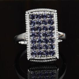J Francis Tanzanite Colour Swarovski Crystal Ring in Platinum Plated