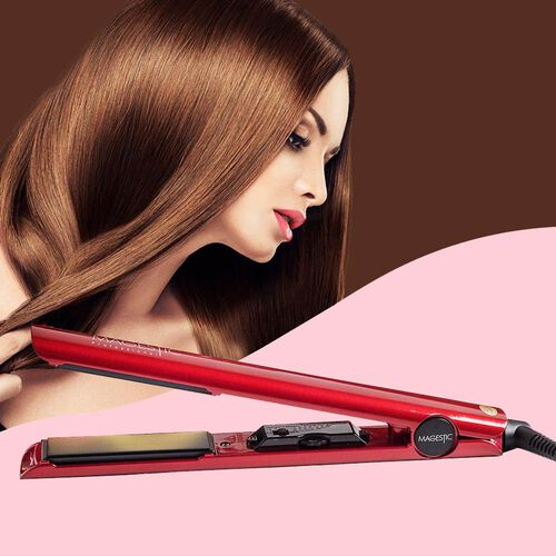 Magestic: Nano Hair Straightener - Silver/Red