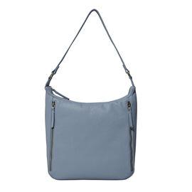 ASSOTS LONDON Pamela Genuine Pebble Grain Leather Hobo Shoulder Bag - Blue