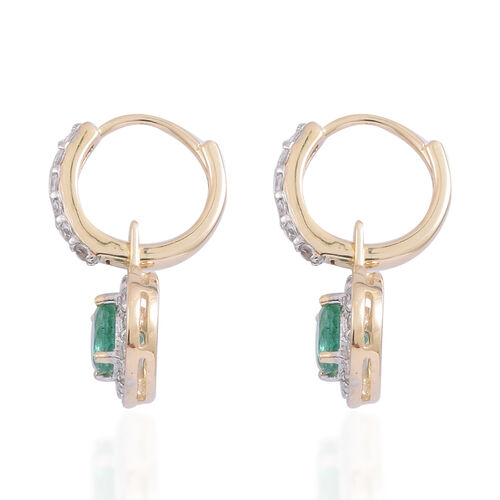 9K Yellow Gold AAA Kagem Zambian Emerald (Rnd), Natural White Cambodian Zircon Earrings (with Clasp Lock) 2.000 Ct.