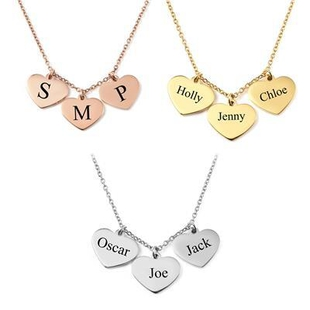 Personalised Engravable 3 Heart Necklace in Silver Tone