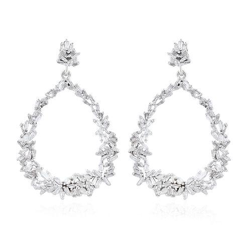 GP Diamond (Bgt), Kanchanaburi Blue Sapphire Drop Earrings (with Push Back) in Platinum Overlay Sterling Silver 1.040 Ct. Number of Diamonds 192