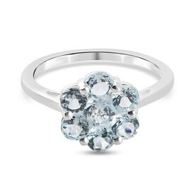 Skyblue Topaz Floral Cluster Ring in Sterling Silver 1.45 Ct.