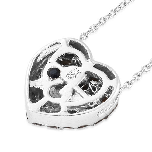 GP Very Rare Red Diamond & Kanchanburi Blue Sapphire Heart Pendant With Chain (Size 18) in Platinum Overlay with Black Plating Sterling Silver 0.360 Ct.