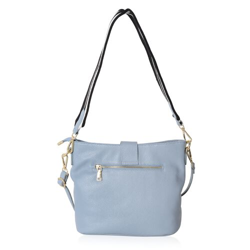Super Soft 100% Genuine Leather Blue Colour Crossbody Bag with External Zipper Pocket (Size 29x25.5x23x13 Cm)