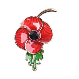 TJC Poppy Design - Black Austrian Crystal Enamelled Poppy 2-in-1 Magnetic Brooch and Pendant