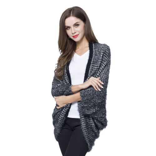 Designer Inspired Black and White Colour Winter Boho Chic Sleeve Kimono (Size 108x48 Cm)