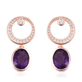 Isabella Liu Twilight 4.52 Ct Lusaka Amethyst and Zircon Drop Earrings in Rose Gold Plated Silver