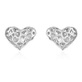 RACHEL GALLEY Rhodium Plated Sterling Silver Lattice Heart Stud Earrings (with Push Back)