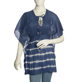 Blue and White Colour Poncho (Free Size)