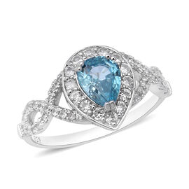 Ratnakiri Blue Zircon and Cambodian White Zircon Halo Ring (Size L) in Rhodium Plated Sterling Silver